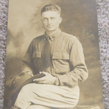 WW1 soldier with early trench watch - Photographs
