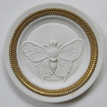 Porcelain Moth Plate~Unglazed Bisque w/Gold~Looks Old, Unmarked? Any Info Appreciated - Art Pottery