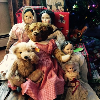 Antique Dolls and Teddy Bear on Vintage Sled