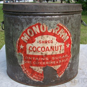 Lrg. Hills Brothers Co. NY  Monogram Brand Cocoanut Tin  - Advertising