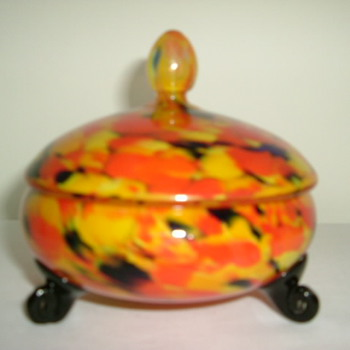 Czech Art Deco Welz Lidded Bowl - Art Glass