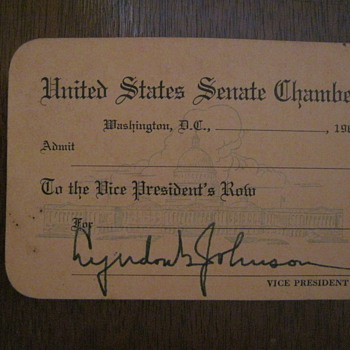 1963 United States Senate Pass - Lyndon B Johnson - Cards