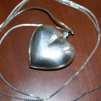 Humongous Sterling Puffy Heart Pendant