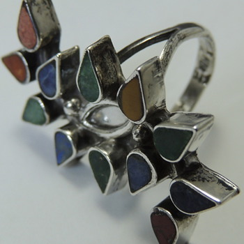 Mexican Silver Ring with Colored Glass or Stones