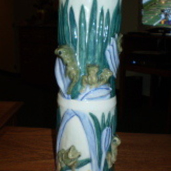 Majolica Cylinder Vase