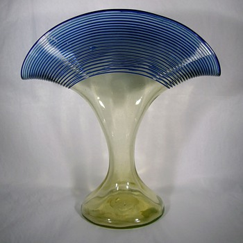 Cobalt  Threading Czechoslovakia Fan Vase - Art Glass