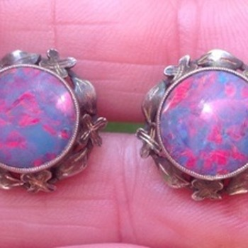 Art and Craft  Silver Opal Earrings