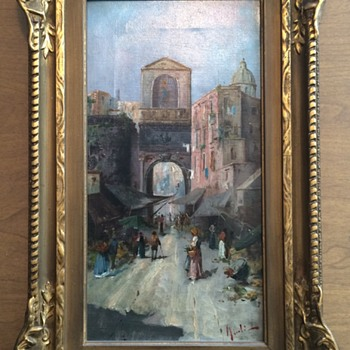 My Wonderful Antique Oil Village Scene