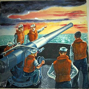 WW2 Navy war paintings done by my grandfather