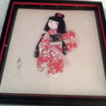 Asian Cloth art of little girl with hair - Asian