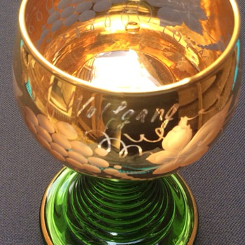 St Wolfgang engraved goblet - Art Glass