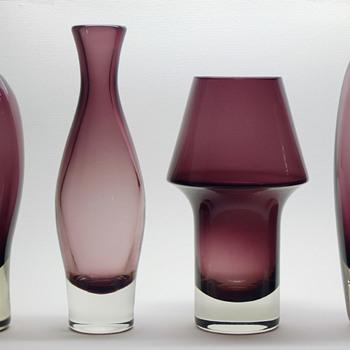Aimo Okkolin, Riihimäen Lasi - Nimipäivä and Stromboli vases. - Art Glass