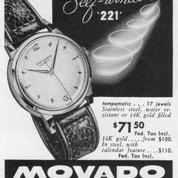 1951 - Movado Tempomatic Watch Advertisement - Advertising