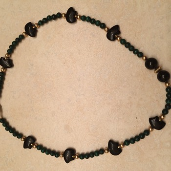 Malachite gold bead and onyx bear necklace - Fine Jewelry