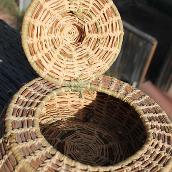 Woven Basket small with hinged lid - Native American