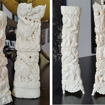 Bone carved statues - Asian