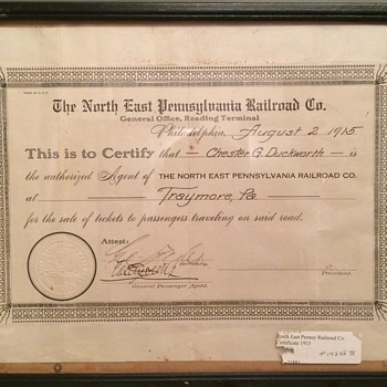 The North East Pennsylvania Railroad Co. -Aug.2,1915=Traymore, PA - Railroadiana