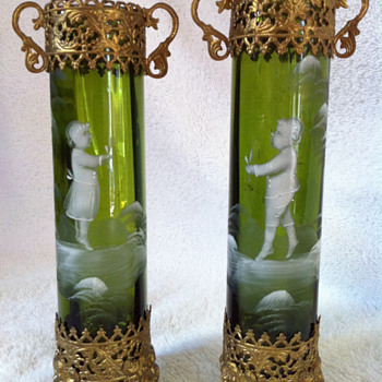 Green with Gold Ormolu Mary Gregory Bud Vases - Art Glass
