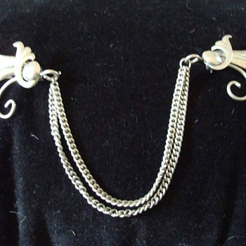 Sterling Art Nouveau Double Pin Brooch with Chains - Art Deco