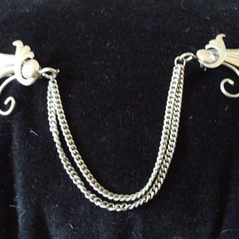 Sterling Art Nouveau Double Pin Brooch with Chains - Art Nouveau