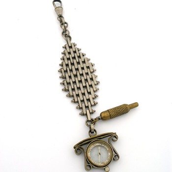 Pocket Watch Chain & Compass Fob