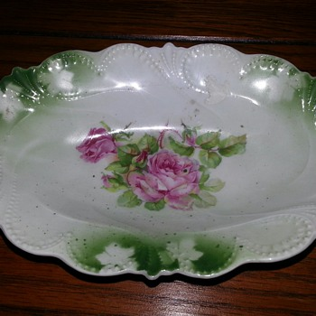 Beautiful German Dish With Hand Painted Roses. Does anyone know this dish?