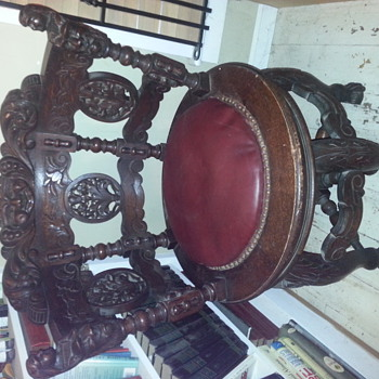 Gothic carved 6 legged wooden swivel round chair - Furniture