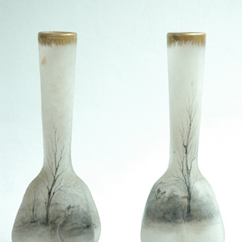 "pair  of miniature daum vase with a ""grisaille""  lanscape.  circa 1893"