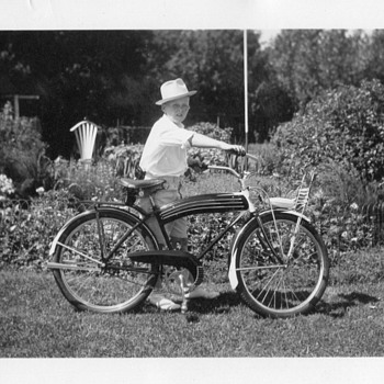Original Photo from ~1938.....A Boy and His Bicycle  - Photographs