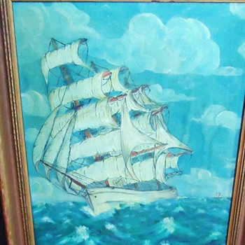 Ship oil Painting  Old Jeffrey? Last letter can not read, need help with Artist