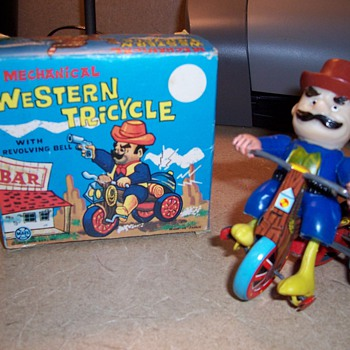 "Vintage Wind Up ""Western Tricycle"" Toy - Toys"