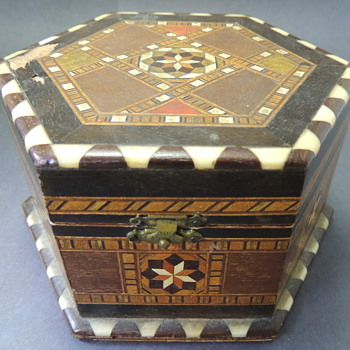 Hexagon Shaped Box with Wooden and Ivory Inlay