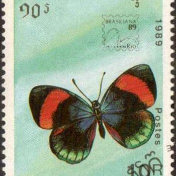 "1989 - Cambodia ""Butterflies"" Postage Stamps (2) - Stamps"