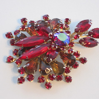 Large Red Rhinestone Brooch with Cut-back on reverse - date??