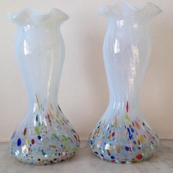 Pair of Kralik harlequin frit ruffle neck vases