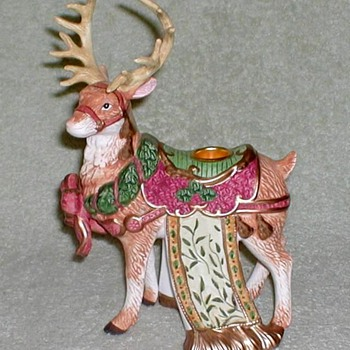 Reindeer Porcelain Figurine Candle Holders