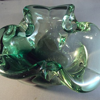 Murano thick green glass ashtray