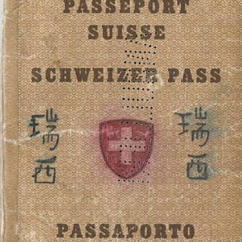 Swiss passport used in Indochina during WW2 - Paper