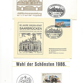German stamps on with special cards and postmarks