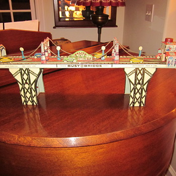 Louis Marx Busy Street Bridge Wind-Up Toy 1930&#039;s