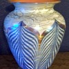 Signed Durand Blue Pulled Feather vase c.1925.