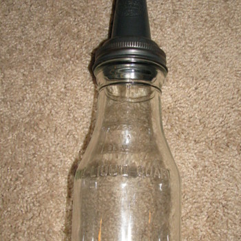 Vintage Glass Oil Bottle with metal Spout - Petroliana