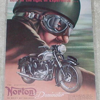 1950 Norton Motorcycle Advertisement - Advertising