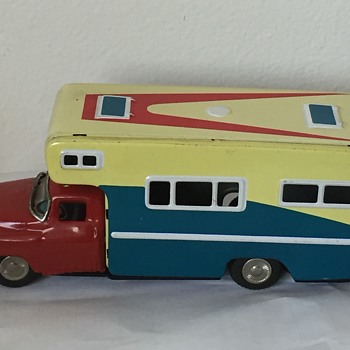 Vintage Japan Friction RV Camper Tin Toy
