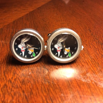 Bugs Bunny Functional Clock Cufflinks circa 1996 from the old Warner Brothers Studio Store - Accessories