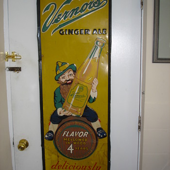 "Early 50's Vernor Ginger Ale sign.  55"" tall - Signs"