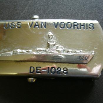 US Navy Belt Buckle USS Van Voorhis