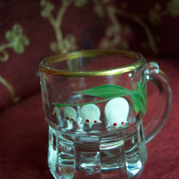 Federal Glass Lily-of-the-Valley handpainted toothpick or shot glass