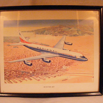 National Airlines DC-8 Fan Jet Original Framed Print (c.1959) - Posters and Prints