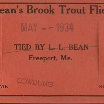 1934 LL Bean vintage hand tied fly Beans Brook Trout #10 Cowdung - Fishing